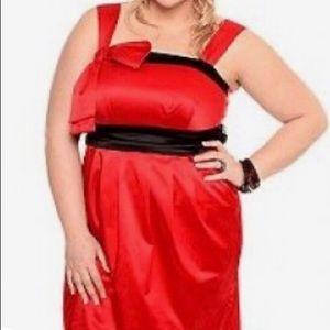 Torrid Satiny Red Black Bow Pockets Party Dress 20